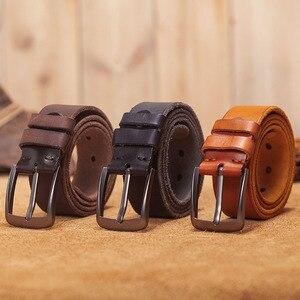 Image 2 - VAMOS KATOAL Men leather belt,Retro top quality Genuine Leather Belts for men, Male metal Pin Buckle belt