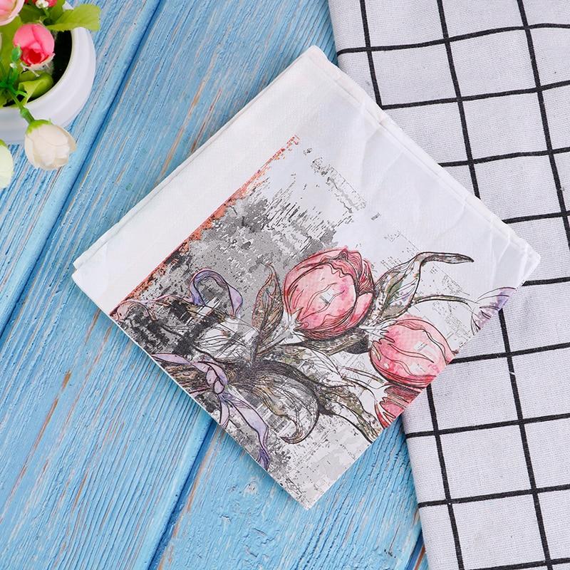 20pcs/1Bag Flower Pattern Decoupage Napkin Paper Tissue For Xmas Wedding Decor Napkins Paper