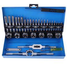цена на 32Pcs/Set Tap Die Set Adjustable Metric Taps Dies Wrench Set Screw Thread Straight Taper Hand Tools Set