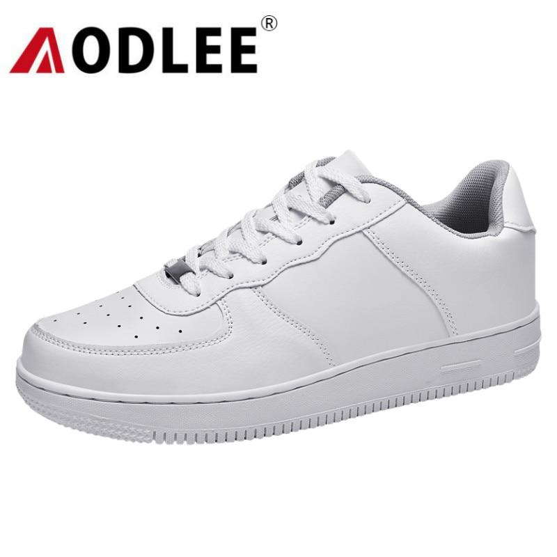 AODLEE White Sneakers Men Shoes Casual Big Size 47 Classic Mens Shoes Casual Sneakers Walking Leather Shoes Men Tenis Masculino