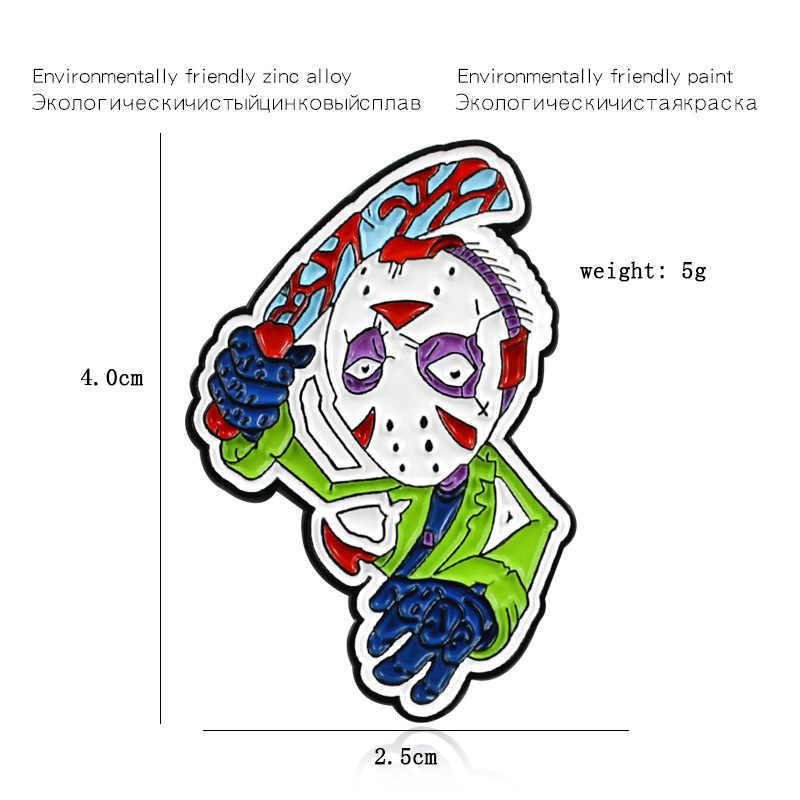 Alien Maschera di Testa di Spilli di Goccia Del Fumetto Anime Spilla Fai da Te Smalto Spille Distintivi E Simboli Accessori
