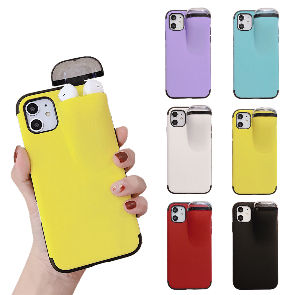 For <font><b>iPhone</b></font> 11 Pro Max XS MAX XR <font><b>X</b></font> For Airpods Portable Storage <font><b>Sillicon</b></font> Soft <font><b>Case</b></font> Cover For <font><b>iPhone</b></font> 8 7 6 6S Plus image
