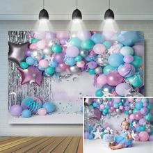 Purple Pink Sliver Balloons Baby Birthday Photography Backdrop Cake Smash Little Star Moon Decor Background Baby Photostudio