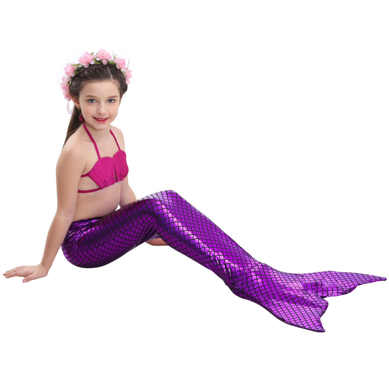 Little Mermaid Tails for Swimming Costume Mermaid Tail Cosplay Girls Swimsuit Kids Children Swimmable suit Monofin 2