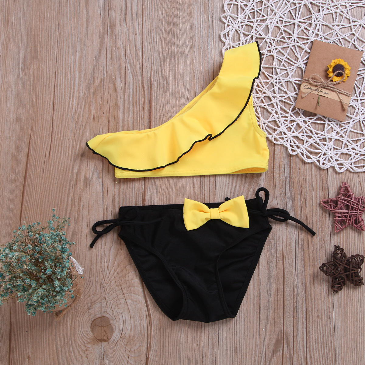 Childrenswear 2019 KID'S Swimwear Flounced Sloping Shoulder Candy Multi-color Swimwear Small CHILDREN'S Two-piece Swimsuits