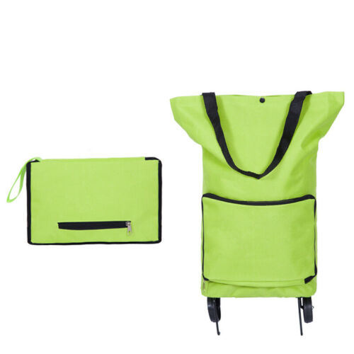 1Pc Portable Shopping Trolley Bag With Wheels Foldable Cart Rolling Grocery Green Shopping Bag Cart Hot