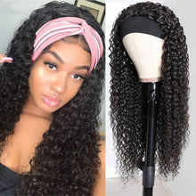 Water Wave Headband Wig Synthetic Wig for Women Scarf Glueless Velcro Design Heat Resistant Fiber Cosplay Daily Lolita Curly Wig