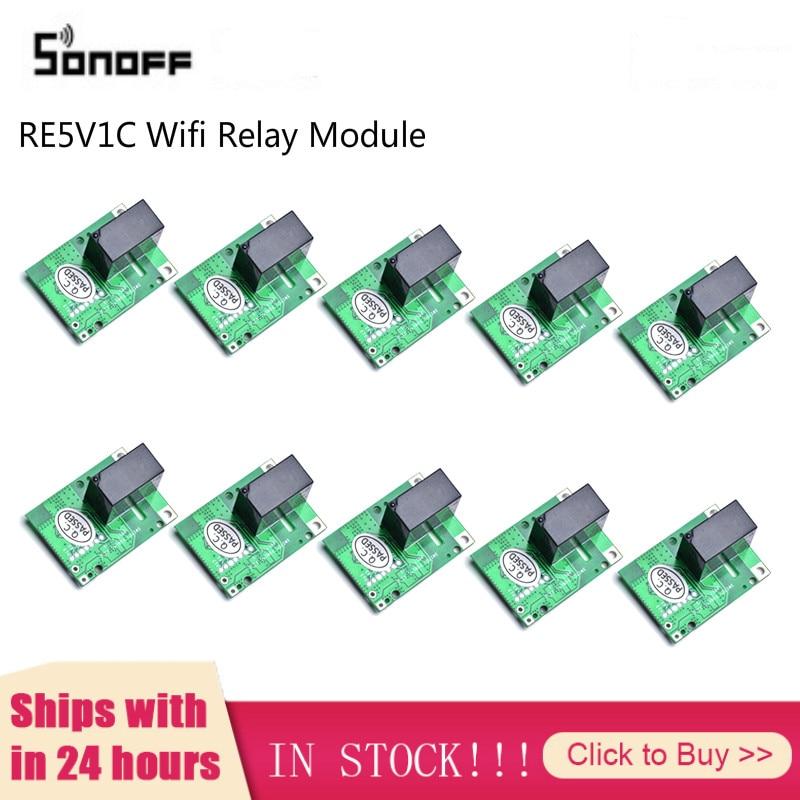 1/10 шт. SONOFF RE5V1C Wi Fi для переключателя «сделай сам» 5V DC релейный модуль умный дом Беспроводной переключатель с автофиксацией/шаговым управлением с автоматической блокировкой режимов (в том числе от приложений голосовой пульт дистанционного управления