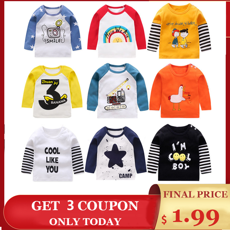 Cotton T-Shirts Kids Toddler Tops Cartoon Long Sleeve T Shirt Baby Clothing for Girls Boys Clothing Children's Clothes Coats