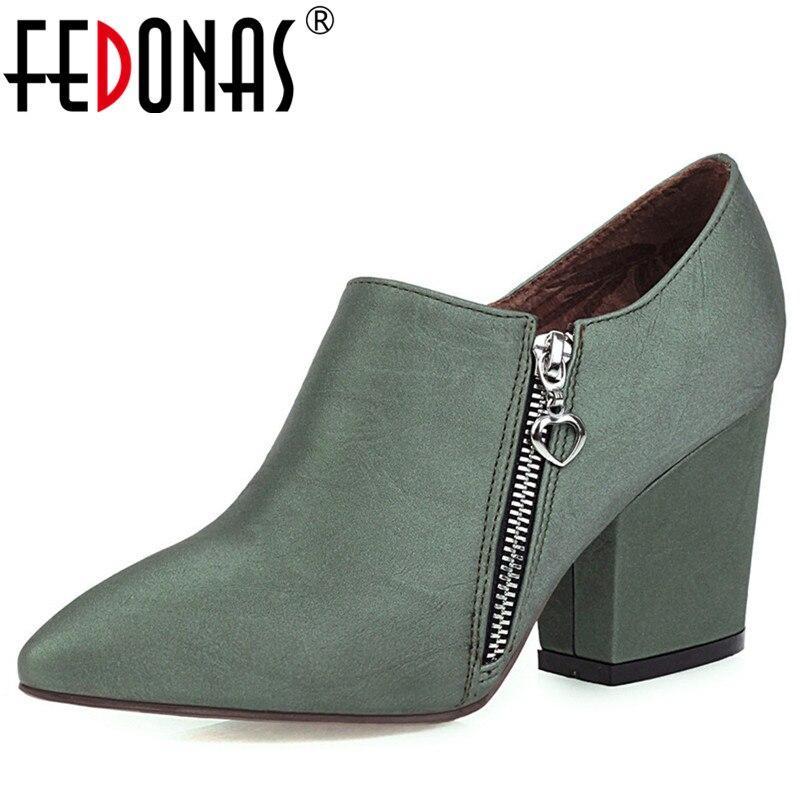 FEDONAS Plus Size Pumps Women Spring Autumn Four Season Party Basic Office Shoes Woman Classic Pointed Toe Side Zipper Pumps