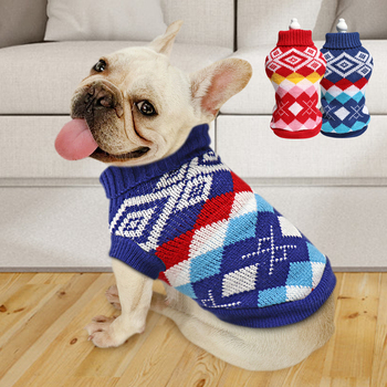 Cute Dog Sweater Warm Winter Clothes Puppy Knitted Jacket Coat Soft Pet Clothing For Medium Large Dogs French Bulldog Chihuahua image