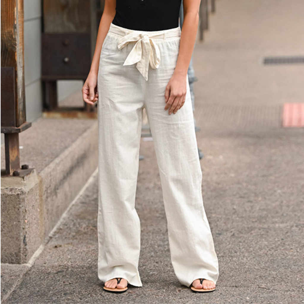 White Cotton Linen Trousers Women Loose Casual Bow Belt Wide Leg Pants 2020 Autunm Fashion Solid Bandage Women Trouse T3