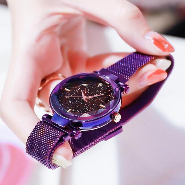 Luxury Women Watches Fashion Elegant Magnet Buckle Vibrato Purple Gold Ladies Wristwatch 2019 New Starry Sky  Relogio Feminino 3