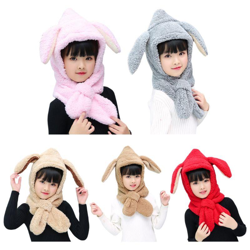 Baby Kids Winter Plush Warm Hat Hooded Scarf Cute Bunny Ears Earflap Beanie Cap KLV 2019 New Fashion