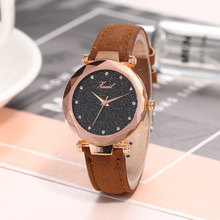 Alloy  No waterproof Fashion & Casual star diamond face matte belt ladies watch Quartz