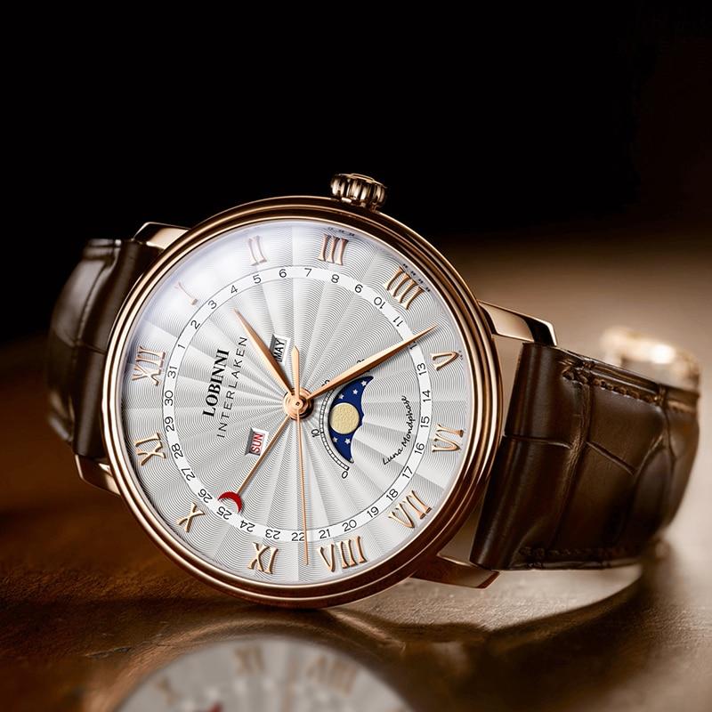 Lobinni Japan Quartz Watch For Moon Phase Watch Male Leather часы мужские наручные Busines montre homme Stainless Steel Dropship