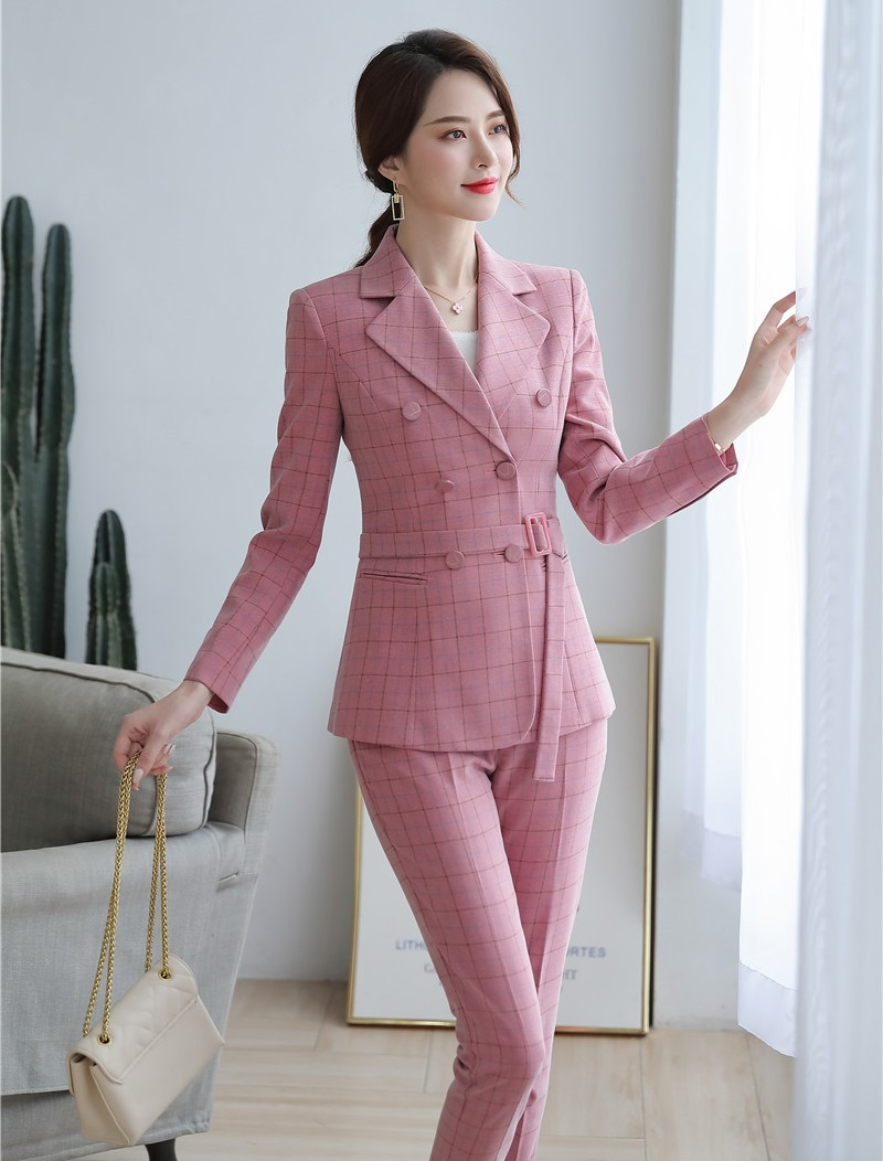 High Quality Fabric Novelty Pink Plaid Business Suits With Jackets and Pencil Pants Ladies Work Wear Blazers Pantsuits with Belt 19