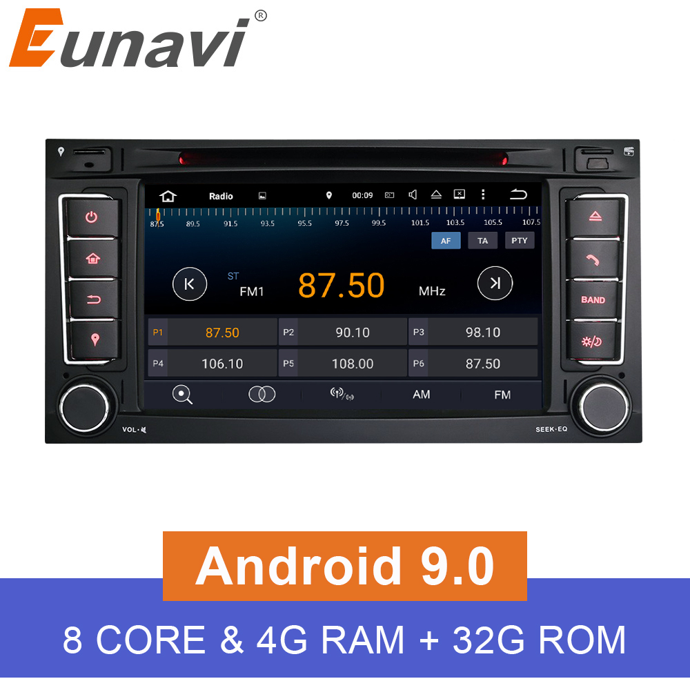 Eunavi 2 Din Android 9 0 Car DVD Player For VW Volkswagen Touareg Transporter T5 2014