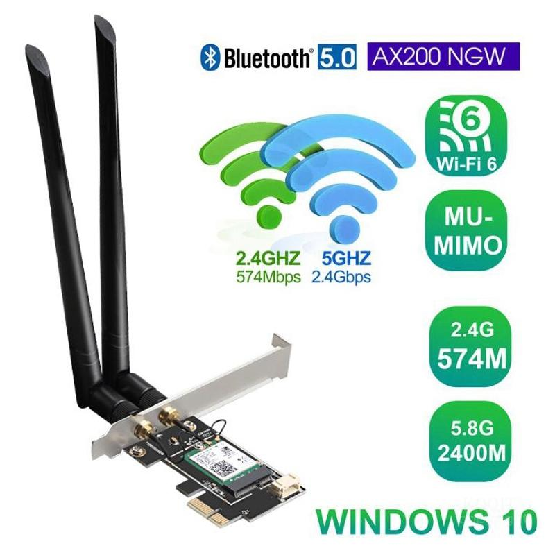 Dual Band 2.4G/5G 3000Mbps 802.11ax Intel <font><b>AX200</b></font> <font><b>Wifi</b></font> 6 PCI-E PCI Express <font><b>Wifi</b></font> Adapter Bluetooth 5.0 Network Card For Desktop PC image