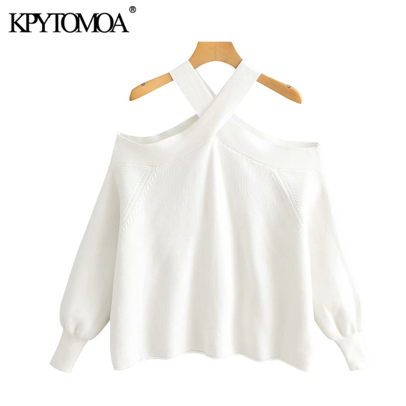 Vintage Stylish Strapless Loose Knitted Sweater Women 2020 Fashion O Neck Long Sleeve Female Pullovers Chic Tops