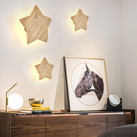 zerouno Nordic Solid Wooden LED Night Lamp Five Pointed Star Bedside Lamp Wall Night Light Bedroom Aisle Corridor Hotel Lights