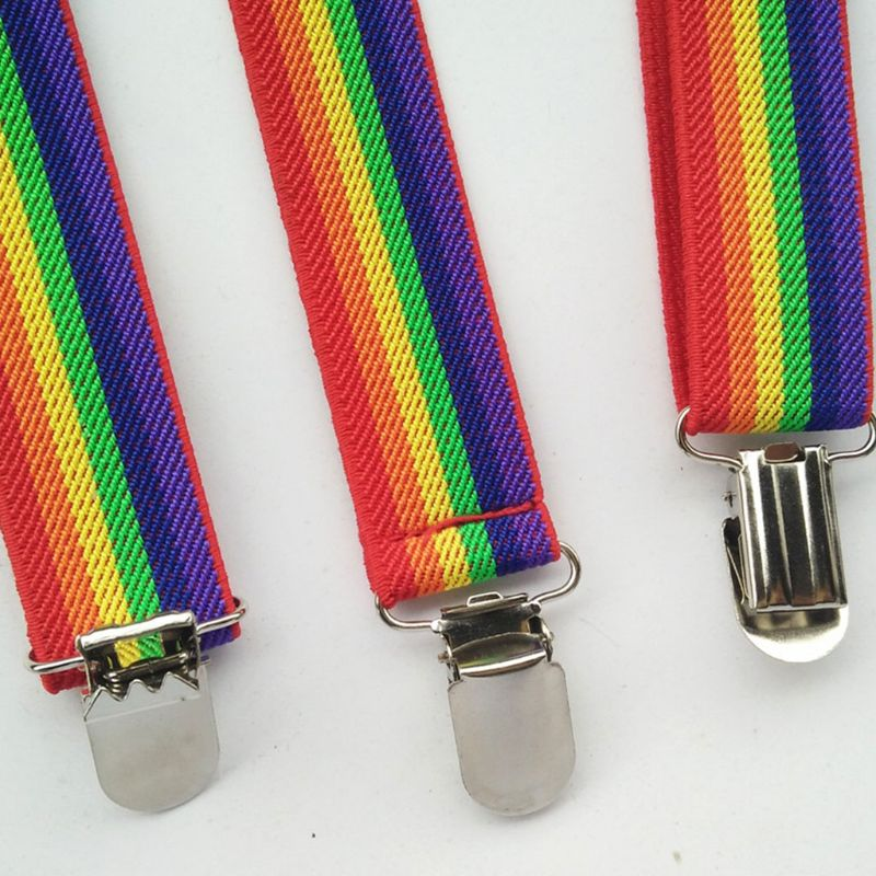 2020 New Children Rainbow Strap Clip Colorful Striped Baby Suspenders Belt Boys And Girls Fashion Straps Anti-drop Belts Buckle
