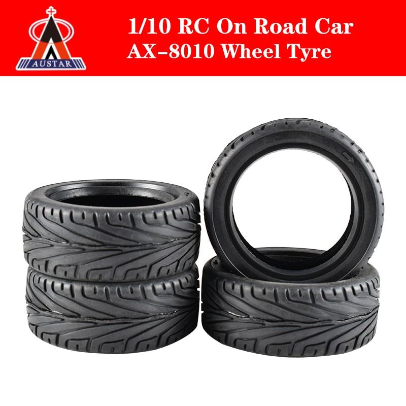 Alta calidad AUSTAR 4 unids/set rueda neumático de goma de neumáticos para 1/10 RC en coche de carretera Traxxas HSP Tamiya HPI Kyosho RC Coche