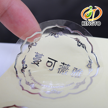 Silver Foil Stamping Transparent Adhesive Sticker