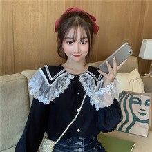 Japanese Autumn Sweet Soft Girly Blouse Shirt Kawaii Lace Pe