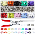 200pcs Metal Sewing Buttons Hollow/Solid Prong Press Studs Snap Fasteners for Installing Clothes Bags Snaps DIY Family Tailor