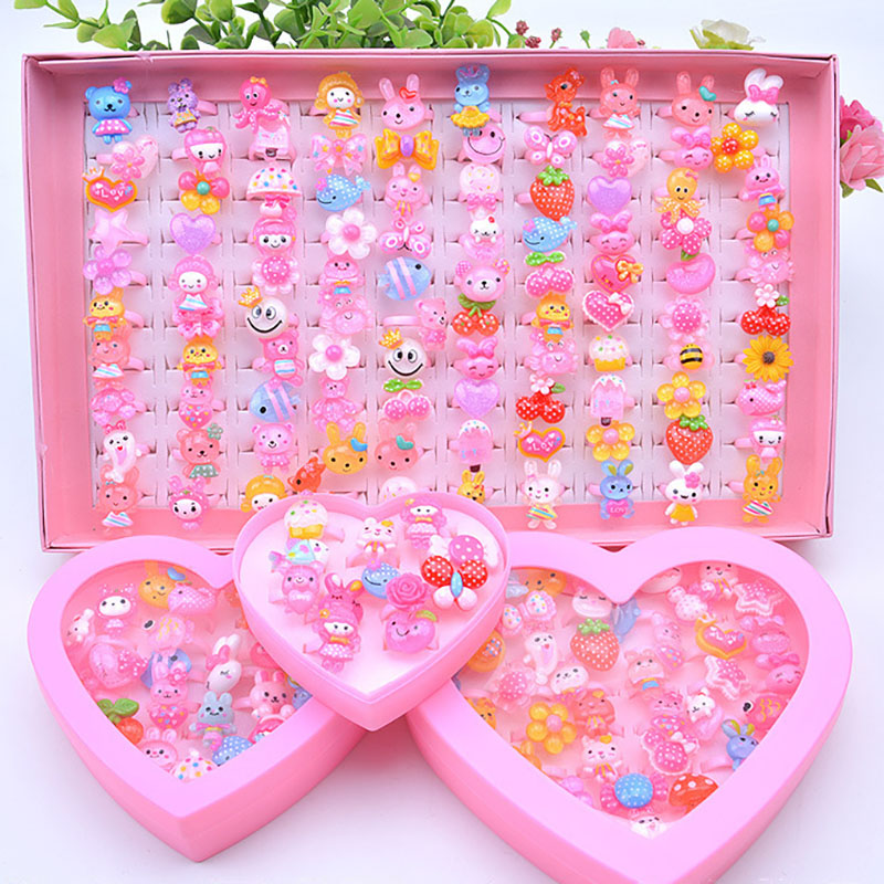 36pcs Cute Cartoon Rings Toys For Baby Girls Pretend Play Game Colorful Kids Beauty Fashion Birthday Party Gift Kawaii