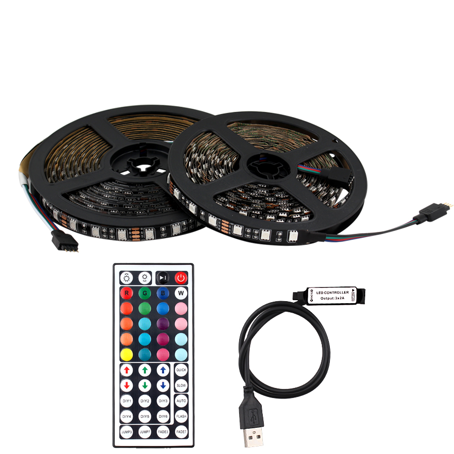 Neon 5V LED Strip PC RGB <font><b>5050</b></font> <font><b>USB</b></font> Light Tape Waterproof 5V Led Strip Light RGB Ambilight TV Backlight With 44key <font><b>USB</b></font> Controller image