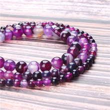 Hot Sale Natural Stone Purple Striped Agate Beads 15.5 Pick Size: 4 6 8 10 mm fit Diy Charms Beads Jewelry Making Accessories