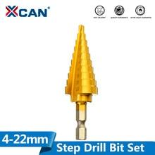 Xcan 1pc 4-22mm titânio revestido passo broca hss flauta reta pagode broca hex shank ferramenta para trabalhar madeira buraco cortador hss broca