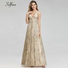 Elegant Gold Women Dresses A-Line Double V-Neck Sequined Fashion Summer Sexy Ladies Maxi Jurken Zomer 2019