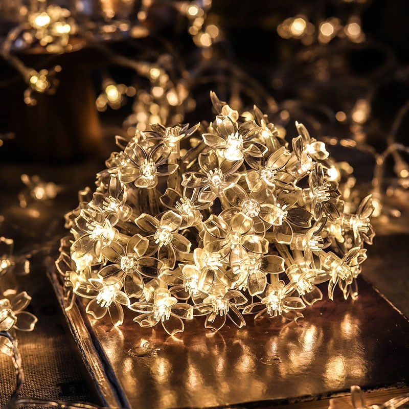 2m 20Leds Cherry Blossom Flower LED String Light Fairy Lights Indoor Outdoor Wedding Party Home Decoration Usb Battery Powered
