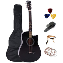 Basewood Capo-Strap Acoustic-Guitar Pick 6-Strings Beginner-Instruments with Backpack