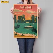 Póster de viaje Miami City, pintura de paisaje de verano antiguo, Papel kraft clásico, adhesivo pintado a mano para pared, decoración del hogar, 42x30cm