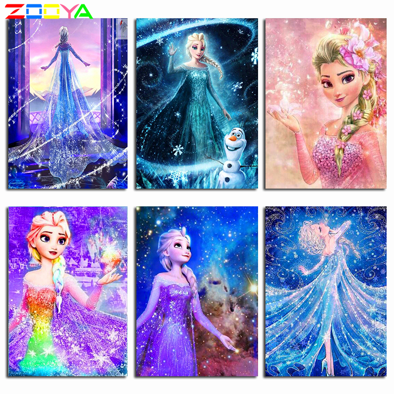 5D Diamond Painting Anna Diamond Embroidery Cartoon Snow Princess Ice Romance Full Square Drill Mosaic Sale By Numbers Diy P75(China)