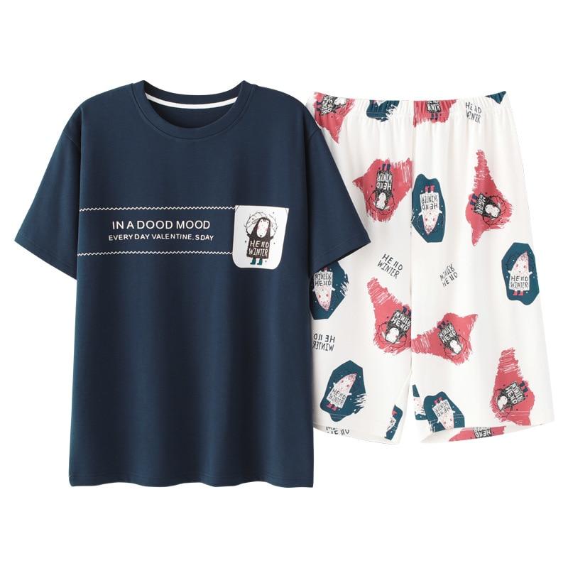 Летний Новый хлопок пижамы костюм мужчины пижамы интимные белье пижамы повседневная печать спать рубашка домашняя одежда и шорты