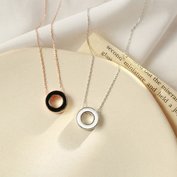 Silver Plated Dainty Eternity Necklace Friendship Gift Simple Round Circle Charm Choker Necklace Pendant Jewelry Women
