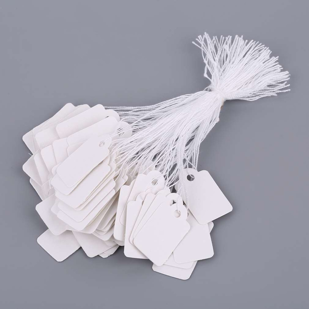 100 Pcs Rectangular Blank White Price Tag  With String Jewelry Label Promotion Store Accessories