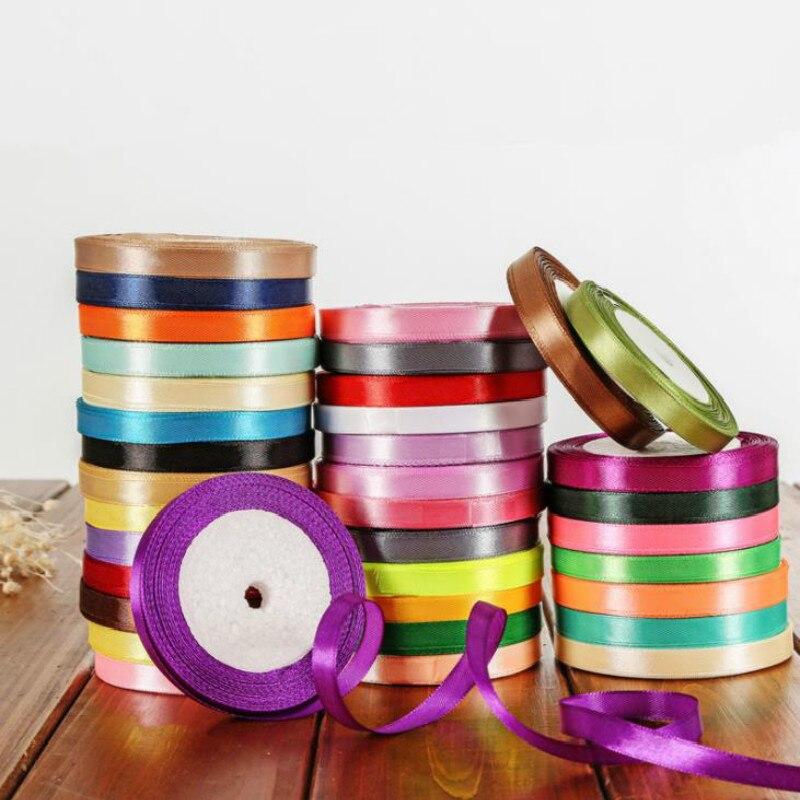 Fitas de cetim de 25 jardas/rolo, festas de casamento, decorativa, caixa de presente, embalagem, artesanato faça você mesmo, 6mm 1cm 1.5cm 2cm 2.5cm 4cm 5cm