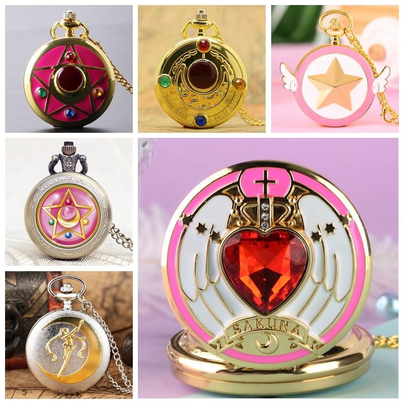 Famous Colorful Anime Sailor Moon Series Quartz Pocket Watch Trendy Moon Stars Necklace Pendant Souvenir Gifts For Women Girls