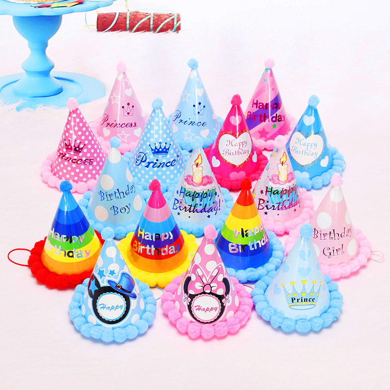 Birthday Children Kid Rainbow Birthday Party Hat Chlid Crown Decoration Paper Cap Cartoon Pattern Festival Colorful Hat 1PCS