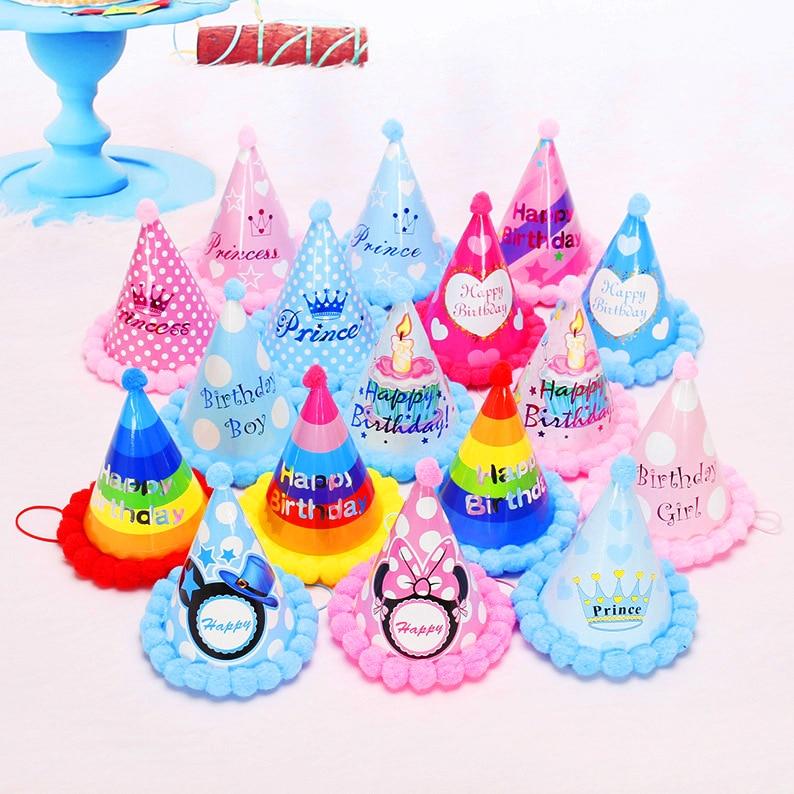 Birthday Children Kid Rainbow Birthday Party Hat Chlid Crown Decoration Paper Cap Cartoon Pattern Festival Colorful Hat 1PCS
