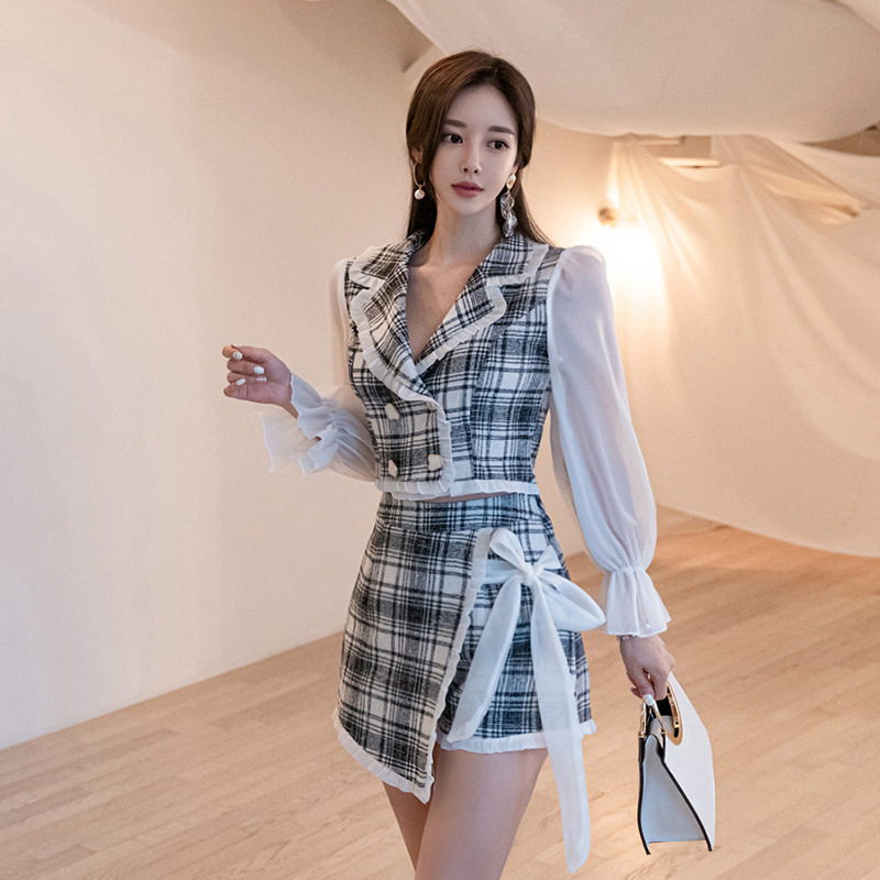 2019 Autumn New Style Korean-style Graceful Joint Plaid Short Suit Jacket Women's + Irregular Skirt Set