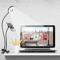 USB FÜHRTE Buch Lesen Licht Telefon Live Stream Füllen Licht Selfie Lampe Multifunktions Nachttisch Studie Clip Lampe Schreibtisch Licht-in Schreibtischlampen aus Licht & Beleuchtung bei