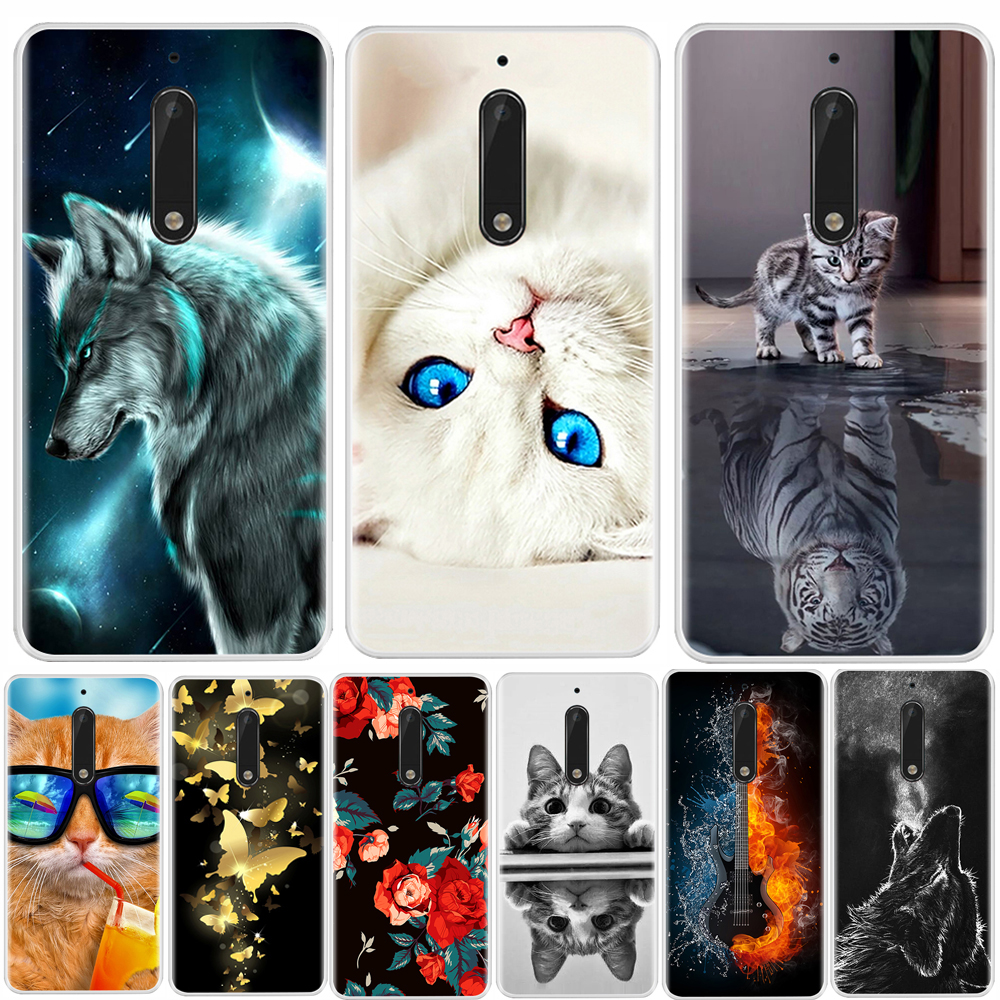 Phone Case For <font><b>Nokia</b></font> 3 5 <font><b>6</b></font> 8 Soft Silicone TPU Ultra Thin Flower Floral Painted <font><b>Back</b></font> <font><b>Cover</b></font> For <font><b>Nokia</b></font> 3 5 <font><b>6</b></font> 8 Case image
