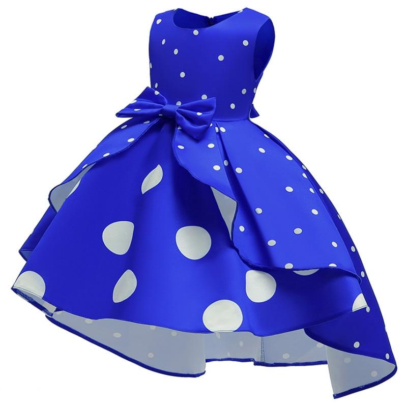 Baby Girls Christmas Flower Striped Dress For Girls Wedding Party Dresses Toddler Kids Brithday Dot Dress Children Clothing 5